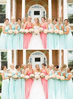 gorgeous bride in her Sophia Tolli lace and tulle wedding dress and bridemaids wearing coral and mint - so pretty!