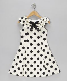 Take a look at this Black & Cream Polka Dot A-Line Dress - Girls by Willoughby on #zulily today!