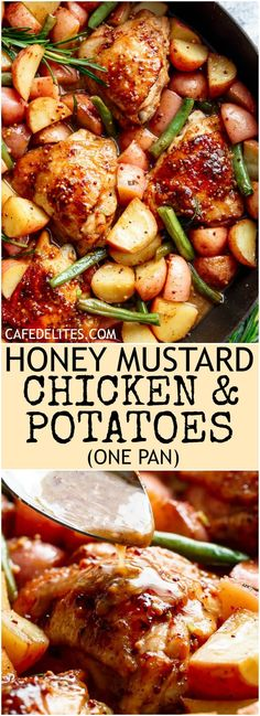 Honey Mustard Chicken & Potatoes is all made in one pan! Juicy, succulent chicken pieces are cooked in the best honey mustard sauce, surrounded by green beans and potatoes for a complete meal!