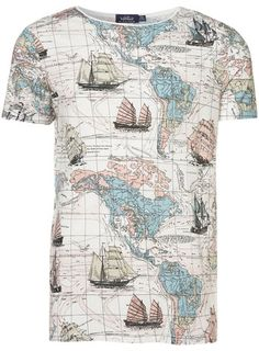 Off White Map Print T-shirt - Men's T-Shirts  - Clothing