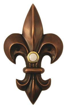 Large Fleur de Lis Decorated Doorbell
