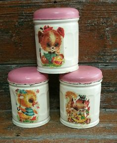 Vintage Tin Canister Set, by EmptyNestVintage on Etsy