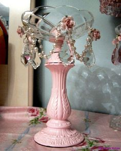 Chic Cottage Pink Compote Soap Dish Shabby Rose Prisms