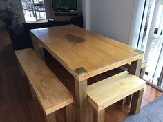 Pine Kitchen Table and Benches with Silver Ash Veneer Fern Inlay (Repost because I buggered the last Post up trying to edit it!) Check out the full project http://ift.tt/2lrmYDQ Don't Forget to Like Comment and Share! - http://ift.tt/1HQJd81
