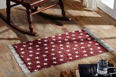 Multi Star Red Rugs Cotton Rectangle/ Like us on Facebook! www.facebook.com/allysonsplacedecor / #Primitive / #Country