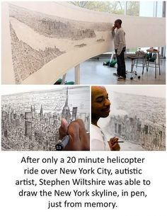 After only a 20 minute helicopter ride over NYC, autistic artist, Stephen Wiltshire ws able to draw the New York skyline, in pen, just from memory.