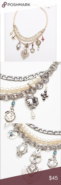 Free People Pearl Charm Necklace Gorgeous freshwater pearls with hearts and crystals combined with lots of chain details completes the boho look. Adjustable lobster clasp Free People Jewelry Necklaces