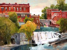 Middlebury Falls How could you not love Middlebury? It has the best of everything… good people, vibrant downtown, unique shops, fine art, great food. An artist could wander around here for years and not run out of subjects. This town grew up around the mighty falls. And that's just the way I painted it.