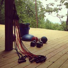 Getting ready for training at the #yogi #bear #shack -- #fitness #yoga #yogaenergystudio #medicineball #bosu #powerblock #dumbbells