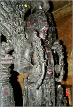 Approximately 6 feet tall, 77 cm wide and 12 cm thick, the Surya is carved from a single slab of dark green chlorite schist. Such fine grained soft metamorphic stones became the medium of choice of Karnataka's artisans from the 11th-14th centuries. Basaveswara Temple