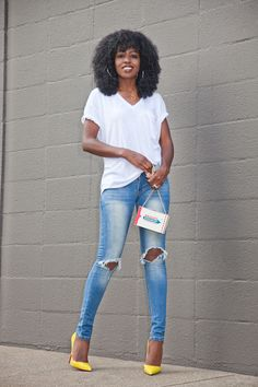 V-Neck Tee   Ripped Skinny Jeans