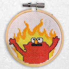 Easy cross stitch pattern for the flaming elmo meme. Sized for hoop. Easy Cross Stitch Patterns, Simple Cross Stitch, Cross Stitch Kits, Cross Stitch Charts, Cross Stitch Designs, Simple Embroidery, Embroidery Art, Cross Stitch Embroidery, Embroidery Patterns