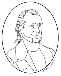 james k polk 11th president clip art coloring page or mini poster