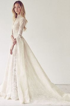 Wedding Dresses Lace High Neck 33 Elegant High-neck Wedding Dresses To Try - weddingcolors.Wedding Dresses Lace High Neck 33 Elegant High-neck Wedding Dresses To Try - weddingcolors Modest Wedding Dresses, Bridal Dresses, Dress Wedding, Wedding Dress Collar, Wedding Ceremony, Wedding Venues, Wedding Outfits, Medieval Wedding Dresses, Elven Dresses
