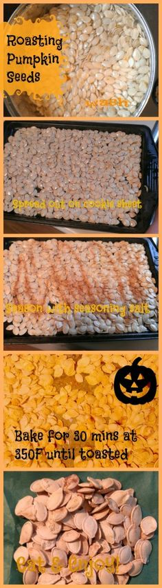 Tried this last year! Loved it! Couldn't stop eatig them! How to roast pumpkin seeds recipe #Fall. I like to let dry on cookie sheets several days before roasting, to make sure they are dry.