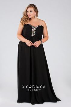 Into the Night SC7096   Long chiffon strapless gown with chunky 5-color beading on bodice