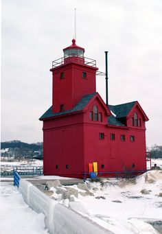 Holland Harbor Light (Big Red), Holland, Michigan, located at the south side of the entrance to Lake Macatawa from Lake Michigan--LHF-history