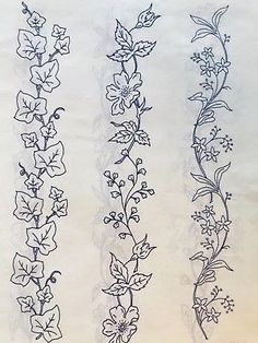VTG iron on Embroidery transfer (cni) Hand Embroidery Patterns Flowers, Border Embroidery Designs, Iron On Embroidery, Embroidery Motifs, Embroidery Transfers, Machine Embroidery, Bordado Floral, Motifs Perler, Sewing Art