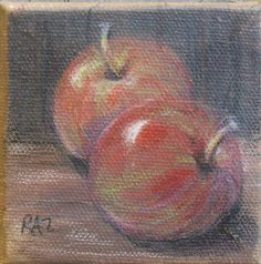 Colored pencil on canvas still life of apples by me, Robin Zebley!