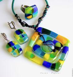 Купить комплект из стекла, фьюзинг Весенний - желтый, синий, зеленый, Фьюзинг, фьюзинг украшения, стекло