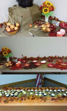 Caramel apple bar and cupcakes for fall theme bridal shower