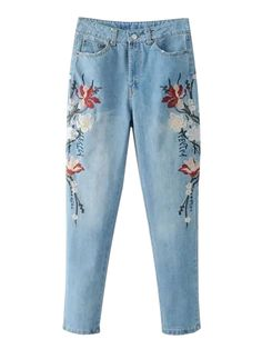 Blue Light Wash Embroidery Floral Jeans
