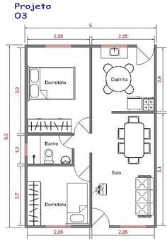 Projeto 3 : 50m² 2 Bedroom House Plans, Small House Plans, House Floor Plans, Layouts Casa, House Layouts, Hotel Room Design, Shipping Container House Plans, Apartment Floor Plans, Apartment Layout