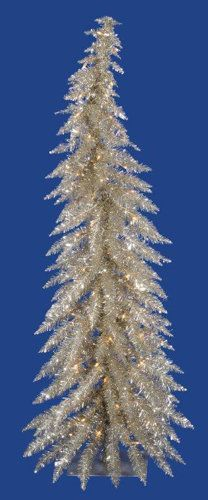 Whimsical 4' Champagne Tinsel Artificial Christmas Tree