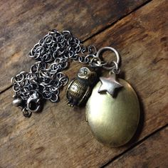 Owl Locket and Star Necklace  by ChrissyGemmillJewels on Etsy, $58.00