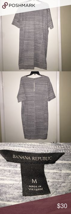 """Striped Banana Republic dress for work to weekend! Grey / White striped dress made to pair with the weekend, work or leggings!  Perfect wardrobe fit for all seasons.  New condition!  34"""" from lowest point on the collar to the hem line. 9"""" sleeves and 8"""" zipper. Banana Republic Dresses Midi"""