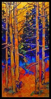 "CAROL NELSON FINE ART BLOG: Mixed Media Aspen Tree Landscape Painting ""Aspen Glade"" by Colorado Mixed Media Abstract Artist Carol Nelson"