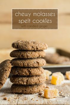 Chewy Molasses Spelt Cookies with Candied Ginger - vegan and nut-free.