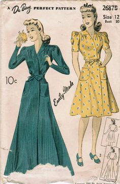 1940s housecoats that could easily double as stylish causal daywear dresses for…