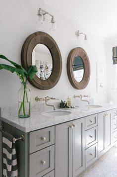Gray Dual Vanity Ideas, Transitional, Bathroom, Benjamin Moore Fieldstone, Amanda Teal Design