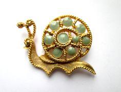 Vintage Figural Snail Gold Tone Rhinestone Brooch Pin C Catch by eKatJewels on Etsy