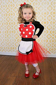 MINNIE MOUSE apron kids TUTU Dress up apron red Polka Dots | Kids ...