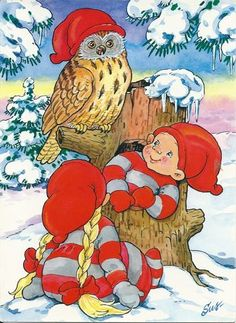 gnomes and owl Christmas Owls, Christmas Fairy, Christmas Scenes, Christmas Clipart, Vintage Christmas Cards, Christmas Pictures, Christmas Crafts, Forest Creatures, Woodland Creatures