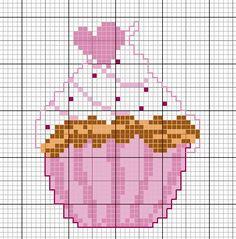 Gourmandise... free de chez frimousse Cupcake Cross Stitch, Cross Stitch Fruit, Cross Stitch For Kids, Cross Stitch Kitchen, Mini Cross Stitch, Cross Stitch Cards, Simple Cross Stitch, Cross Stitching, Cross Stitch Embroidery