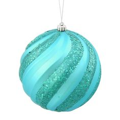 Turquoise Blue Glitter Swirl Shatterproof Christmas Ball Ornament 6 (150mm) 31351905 | ChristmasCentral