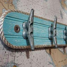 Wall Hook Rack - Galvanized Boat Cleats - Beach Towel Hook - Coat Hooks - Nautical Seaside Ocean Chic Decor - Caribbean Colors - Marine Rope