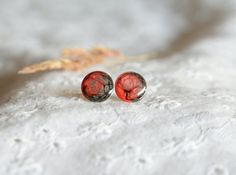 Hand painted sterling silver stud earrings red by BalanceAtelier