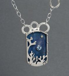 Dawn Russell - made of argentium silver, sterling, maple, aquamarine, diamond