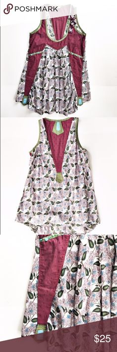 """Free People boho tunic length tank top Floral print and solid cotton boho tank from Free People, size medium. Tunic length, features beading detail on front. Excellent condition. Flat measurements are bust: 17.5"""", waist: 18.5"""", length 31"""". Free People Tops Tank Tops"""