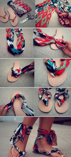 23 Life Hacks Every Girl Should Know - Colorize Your Sandals With Leftover Fabric - Life Hacks and Creative Ideas