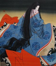 """The work recounts the life of Hikaru Genji, or """"Shining Genji"""", the son of an ancient Japanese emperor, known to readers as Emperor Kiritsubo, and a low-ranking but beloved concubine called Lady Kiritsubo. Ancient Japanese Art, Traditional Japanese Art, Ancient Art, Geisha Kunst, Geisha Art, Japanese Art Prints, Japanese Painting, Art Asiatique, Japon Illustration"""