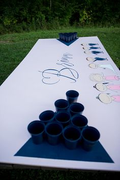 Wedding beer pong with bridal party on the table! Navy and pink rustic wedding. Follow @unicaforma_ for more wedding inspiration!