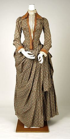 Walking dress Date: ca. 1885 Culture: French Medium: cotton, copper Dimensions: Length at CB (a): 21 in. (53.3 cm) Length at CB (b): 42 1/2 in. (108 cm)