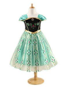 Katara – Robe de Déguisement Princesse Anna La Reine des Neiges – Costume pour Filles Princesse Disney Tenue de Carnaval à Manches Courtes…