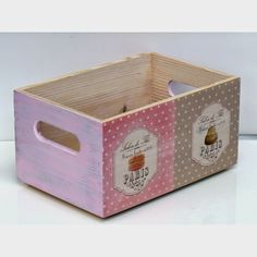 Wooden Crates, Wooden Boxes, Furniture Box, Scrap, Decoupage Vintage, Candy Party, Vintage Wood, Painting On Wood, Easy Diy