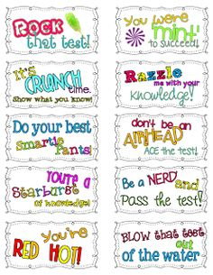 Ginger from Ginger Snaps shares these adorable Candy Motivational Testing Notes.  Attach to candy and leave on students' desks for a sweet treat!